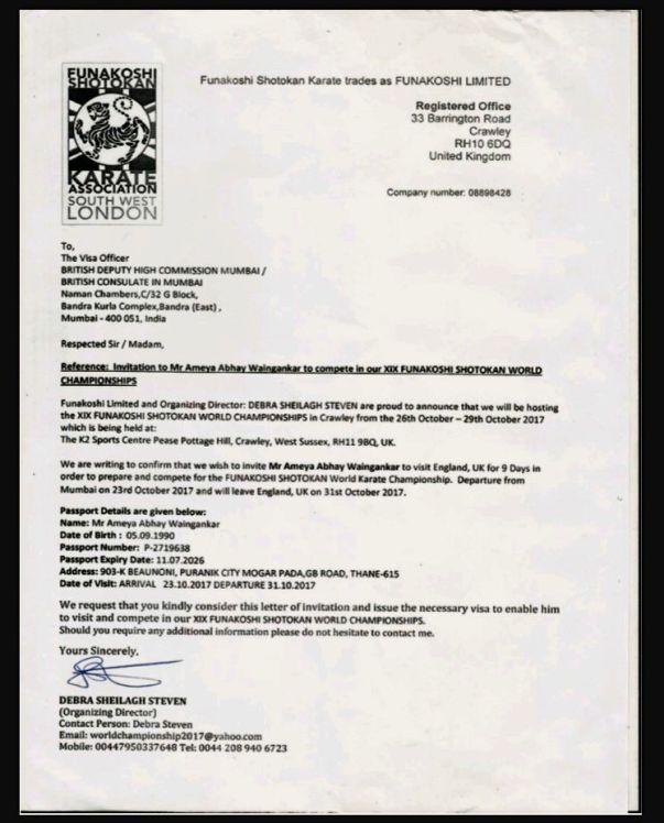 Invitation letter of World Karate Championship - London