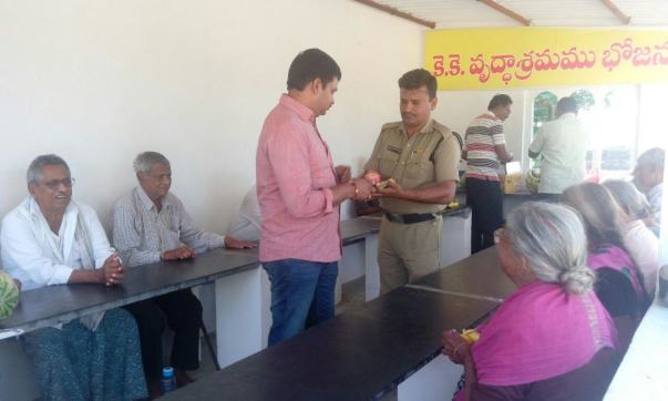 Sri. Tulasi ramakrishna Sub Inspector conducted a charity programme.