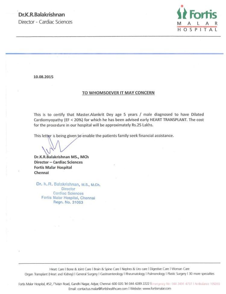 Dr. K.R. Balakrishnan's declaration from Fortis