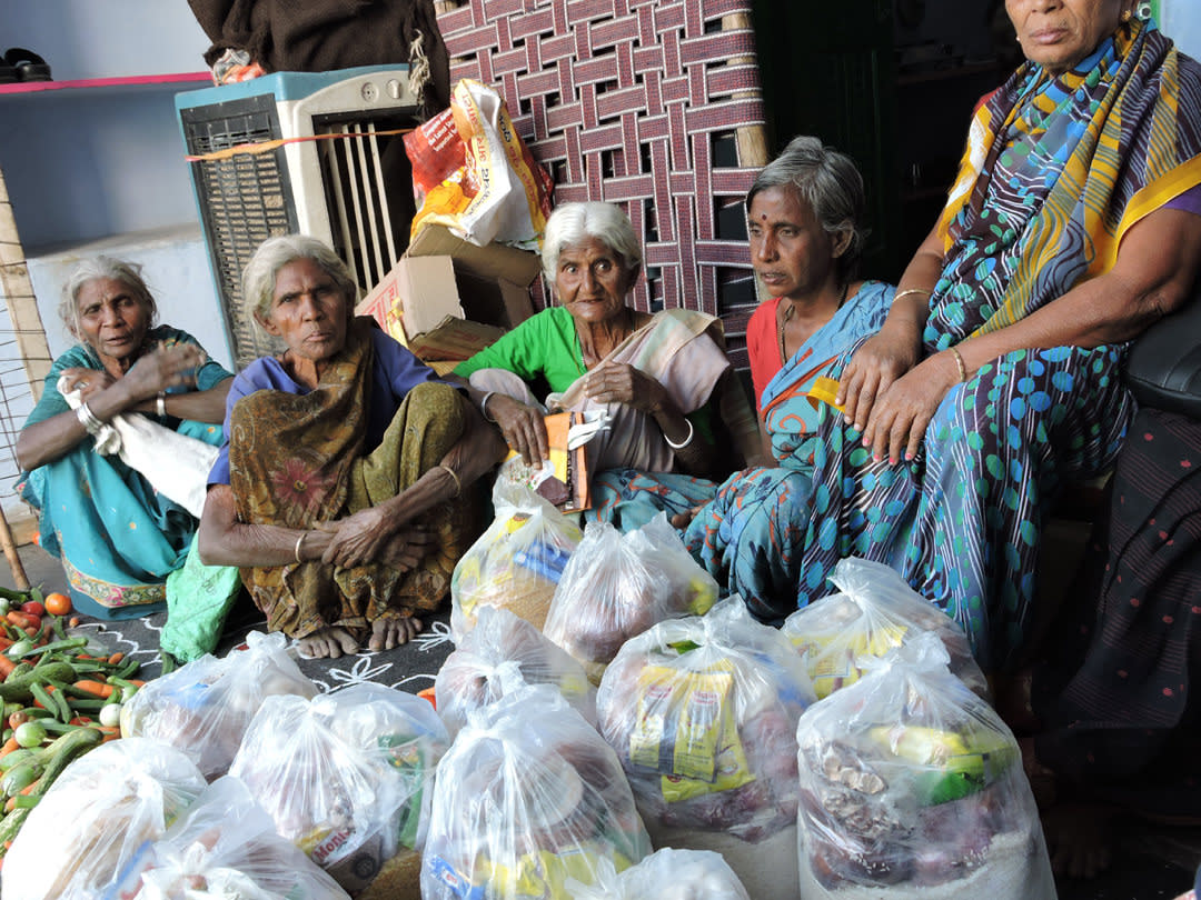 Sponsoring food groceries to the poor oldage persons
