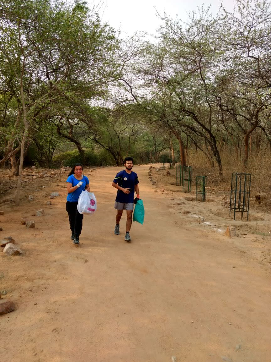 Plastic clean up drive at Sanjay Van