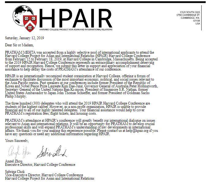 Help Pratham Attend Harvard College Conference (HPAIR