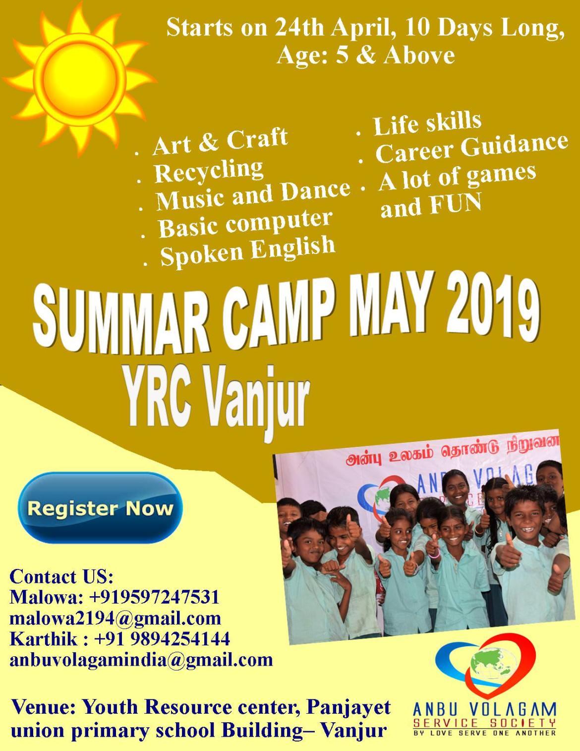 Summer Camp- YRC Vanjur May 2019 | Milaap