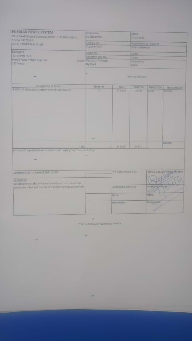 Vendor Invoice for solar system