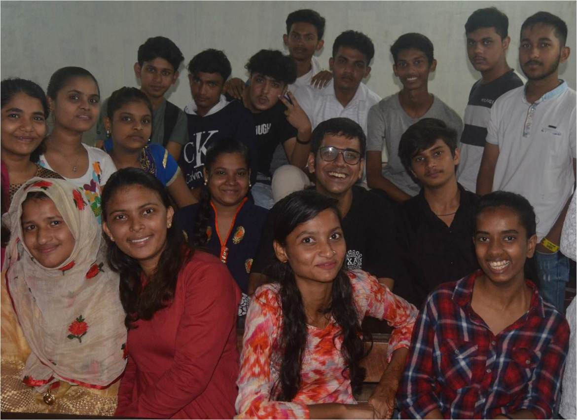Anoop with students in 2019