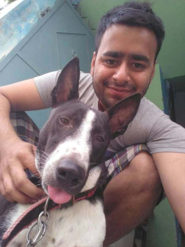 Jimmy , a beautiful Indian desi dog with his owner Praveen
