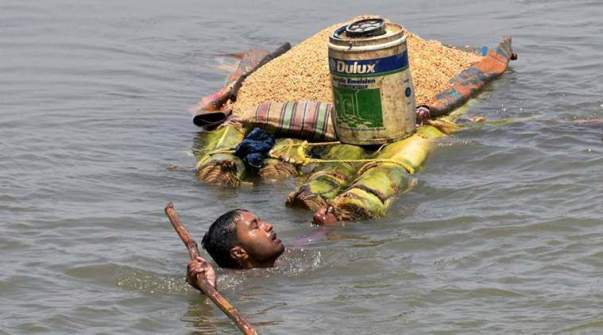 A villager carries grains on a banana raft as he shifts from a flooded village in Araria district of Bihar