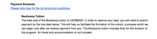 Fee details for the MIT Bootcamp program