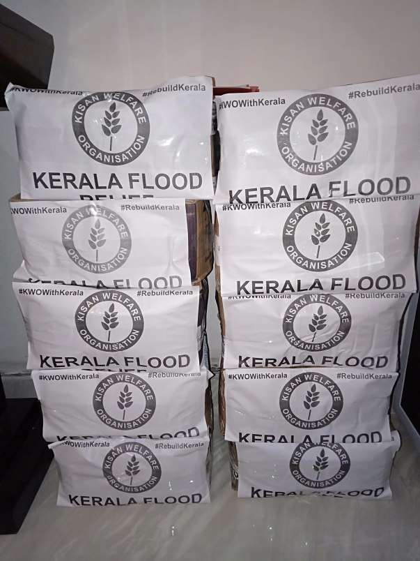 Kisan Welfare Organisation donated relief material to Kerala flood victims