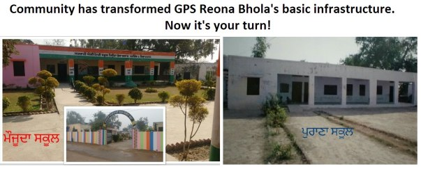 Pictures of the main building of GPS Reona Bhola before the community got involved (on the rigth) and after it collaborated to help the school get basic infrastructure and improve enrolment (on the left)
