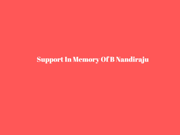 Support In Memory Of B Nandiraju