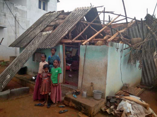 Re-Roofing House For Gaja Victims In Arimalam