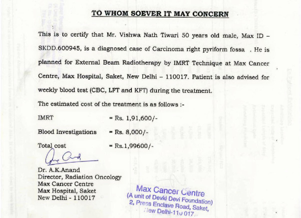 Neck Cancer Treatment of a Father of Deaf and Dumb Girl