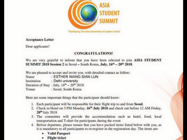 Help Me Attend The Asia Student Summit Programme