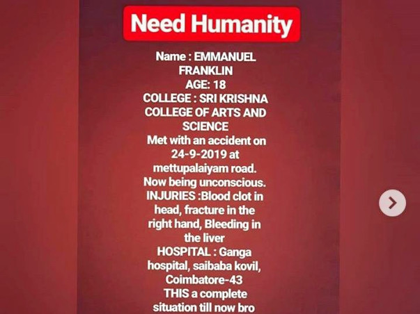 Help Emmanuel To Get Recovered From An Accident