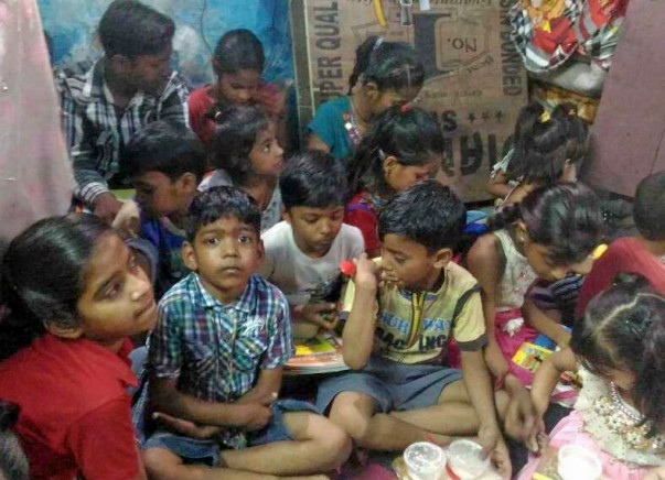Evening class for Slum Children in Delhi