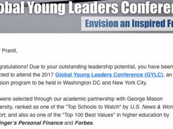 Support me to participate at the Global Young Leaders Conference, USA