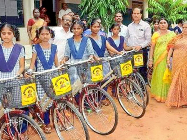 Distributing Cycles To The 10th Students In All Government Schools