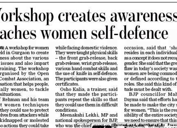 Workshops across India to empower women on self defense