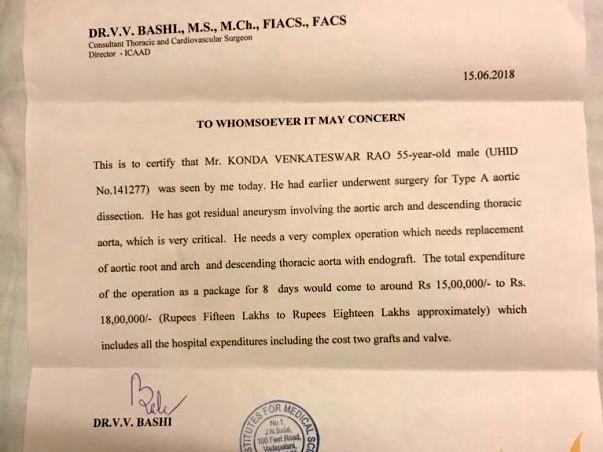 Help Konda Venkateswar Rao