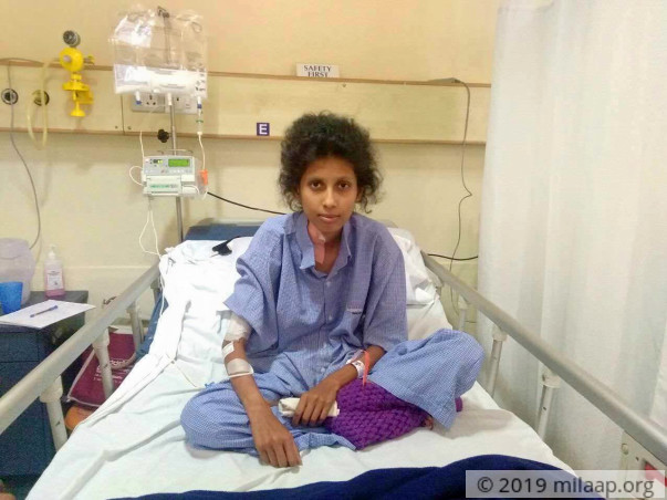Help 21-year-old Sudharani with a swollen digestive system
