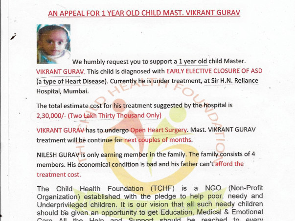 Help 1 Year Old Master Vikrant Gurav To Fight Against Heart Disease
