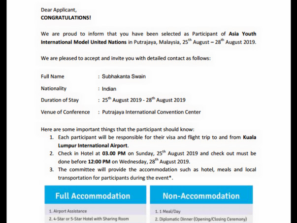 Providing fund for participating in AYIMUN representing India