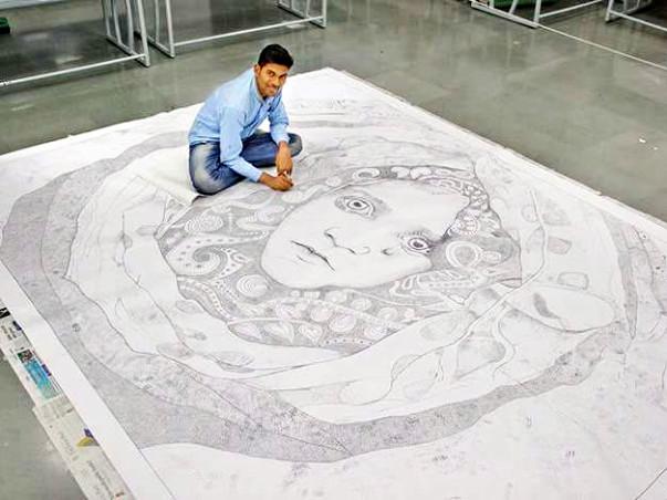 Conservation Of World Record Artwork- Largest Pen Dot Sketch
