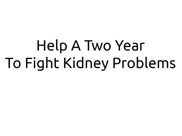 Help A Two Year To Fight Kidney Problems