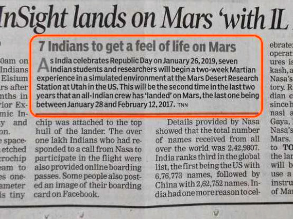 Support the All Indian Team Going for MARS Simulation