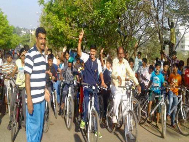 Nandi Hillathon: Support cycling and Road Safety, Sanjaynagar