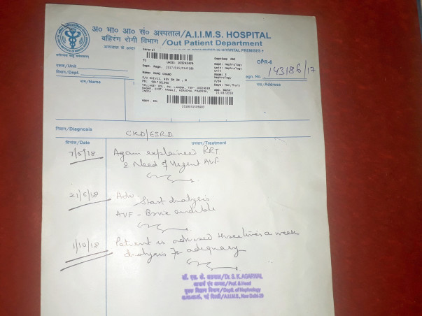 Help My Father To Get A Kidney Dialysis