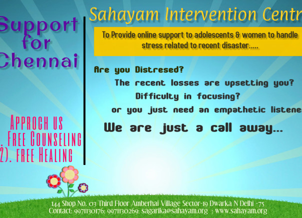 Provide counselling to survivors of Chennai flood relief. Every support counts.