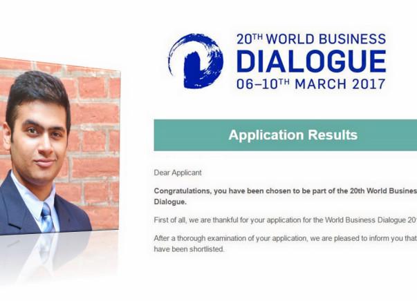 Help Archit reach World Business Dialogue 2017