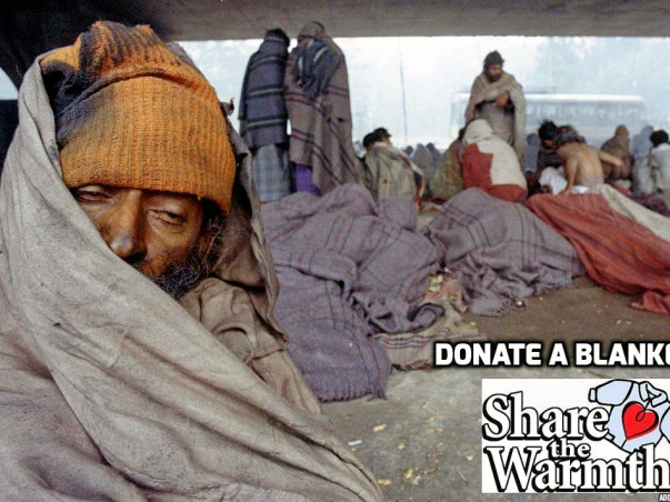 Donate a blanket to homeless people on street