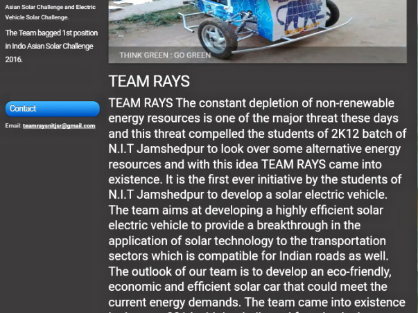 To Raise Fund to Build Solar Car to Compete in National Level,teamrays