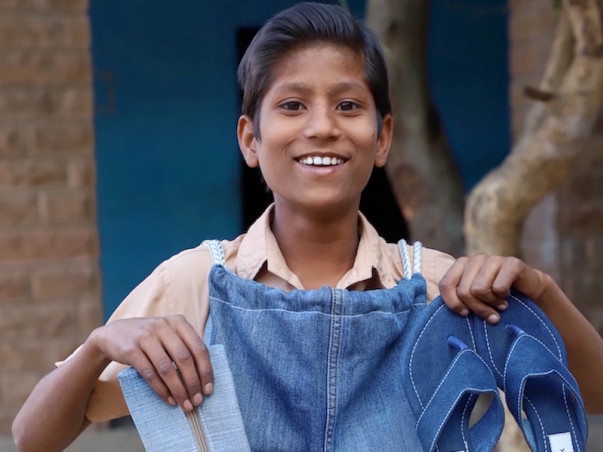 Be a Hero! Gift an Upcycled Denim School Kit to Children.
