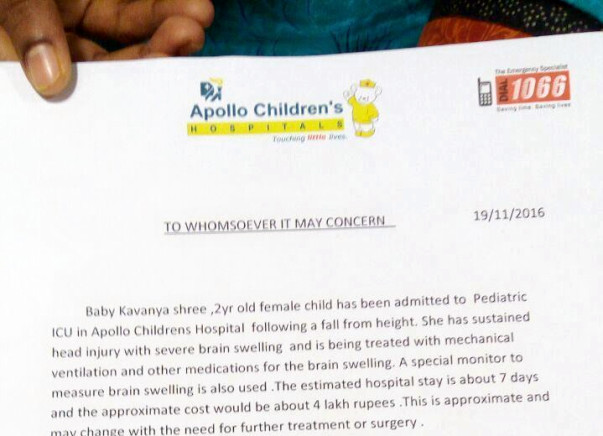Save 2-year-old Kavanya Shree to stay alive