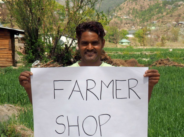 Local organic farmer shop by farmers in Pangna, Himachal Pradesh