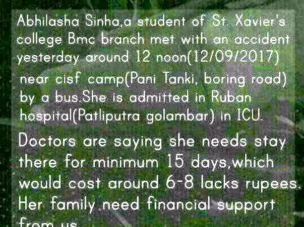 Accident!Help Her to Smile Again,Abhilasha St. Xavier's college Patna