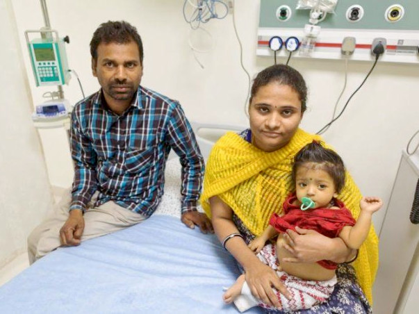 At the age of 9-months baby Pranavi has a serious liver disease