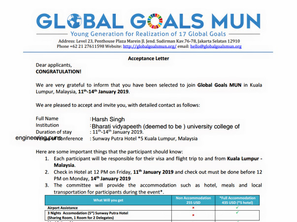 Help Harsh Attend Global Goals MUN