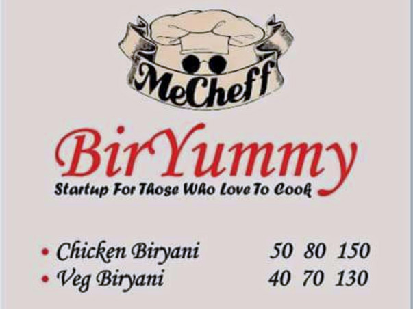 """MeCheff Biryummy"" (startup for those who love to cook)"