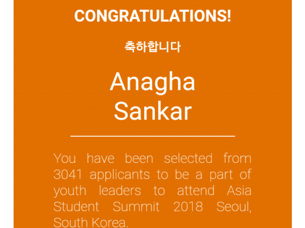 Help Anagha Attend Asia Student Summit 2018!!