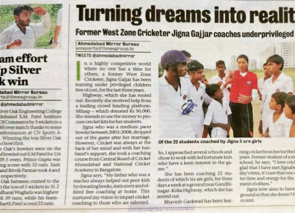JCH Academy for underprivileged boys and girls, cricket coaching