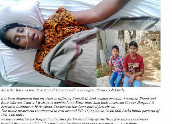Help 32 years old Nagamani need Bone marrow tranplant please save her