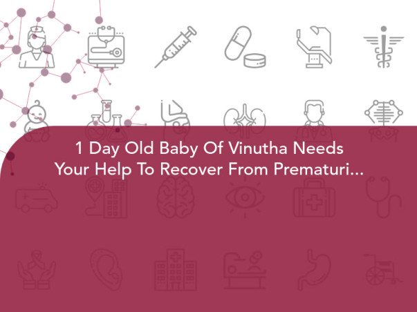 1 Day Old Baby Of Vinutha Needs Your Help To Recover From Prematurity With Respiratory Distress Syndrome