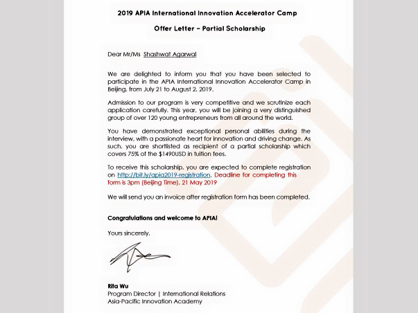 Help Shashwat Attend APIA Accelerator Program 2019