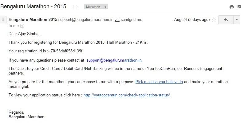 Bengaluru Marathon Registration