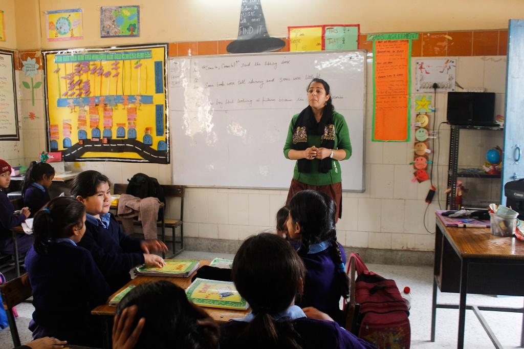 Priya teaching her students